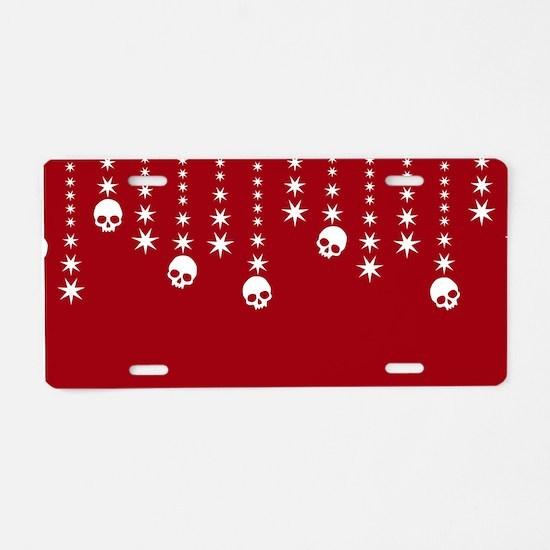 Skull Dangles Christmas Red Aluminum License Plate