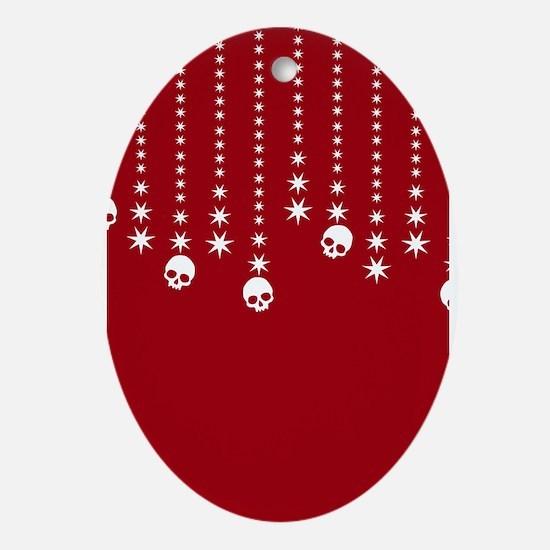 Skull Dangles Christmas Red Ornament (Oval)