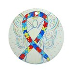 Puzzle Ribbon Angel Ornament (Round)
