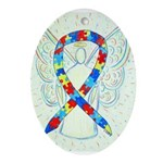 Puzzle Ribbon Angel Ornament (Oval)