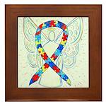 Puzzle Ribbon Angel Framed Tile