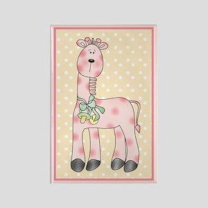 Pink Giraffe w/Pacifier Rectangle Magnet