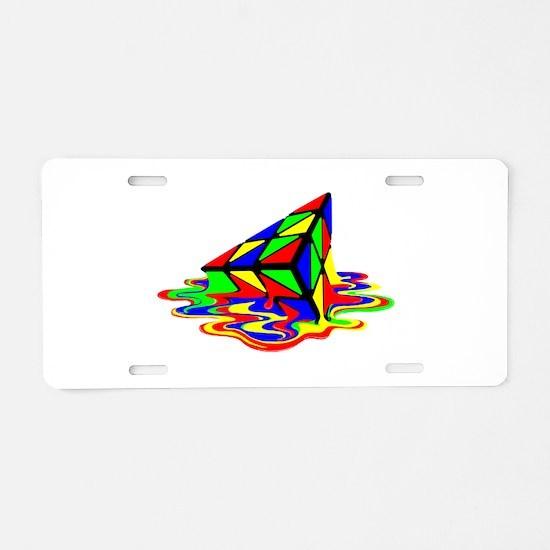 Pyraminx cude painting01B Aluminum License Plate