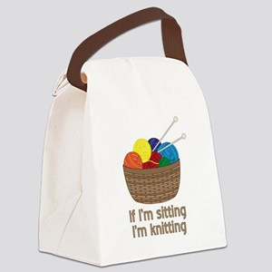 If I'm sitting I'm knitting Canvas Lunch Bag