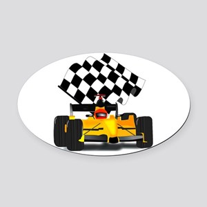 Yellow Race Car Oval Car Magnet