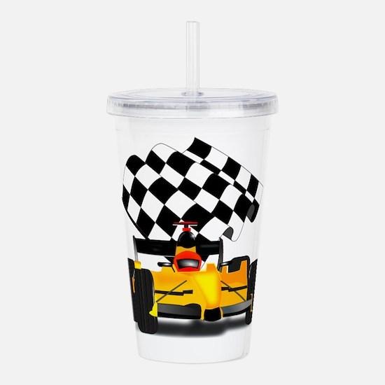 Yellow Race Car Acrylic Double-wall Tumbler