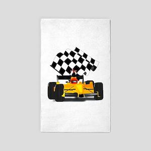 Yellow Race Car 3'x5' Area Rug