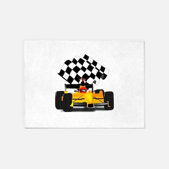 Yellow Race Car 5'x7'Area Rug