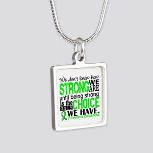 Lymphoma HowStrongWeAre Silver Square Necklace