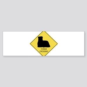 Yorkie crossing Bumper Sticker