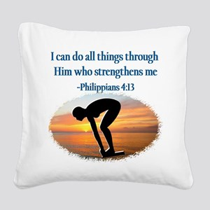CHRISTIAN SWIMMER Square Canvas Pillow