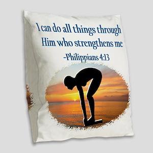 CHRISTIAN SWIMMER Burlap Throw Pillow