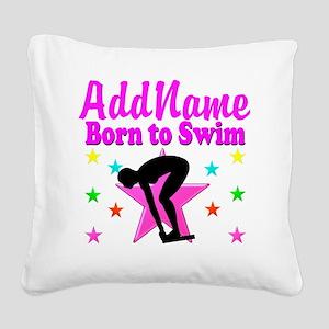 SWIMMER DREAMS Square Canvas Pillow