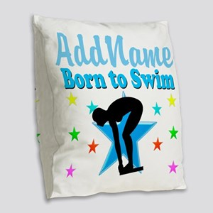 1ST PLACE SWIMMER Burlap Throw Pillow