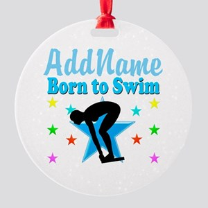 1ST PLACE SWIMMER Round Ornament