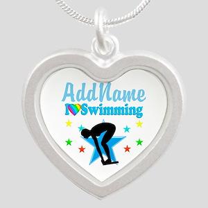 SWIM TEAM Silver Heart Necklace