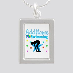 SWIM TEAM Silver Portrait Necklace