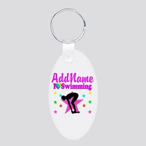 LOVE SWIMMING Aluminum Oval Keychain