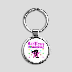 LOVE SWIMMING Round Keychain