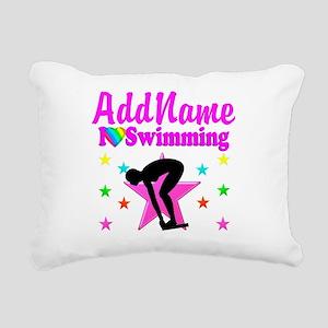 LOVE SWIMMING Rectangular Canvas Pillow