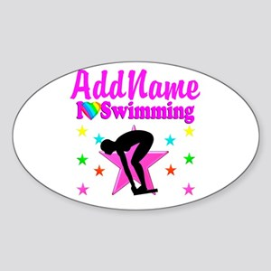 LOVE SWIMMING Sticker (Oval)