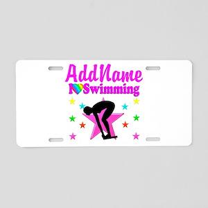 LOVE SWIMMING Aluminum License Plate