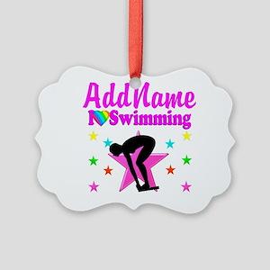 LOVE SWIMMING Picture Ornament