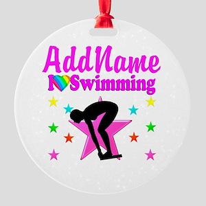 LOVE SWIMMING Round Ornament