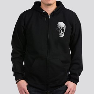 chalk skull sketch Zip Hoodie (dark)