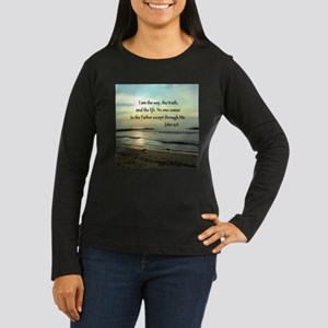 JOHN 14:6 Women's Long Sleeve Dark T-Shirt