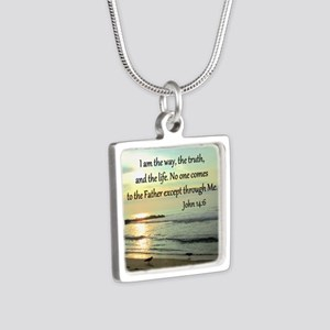 JOHN 14:6 Silver Square Necklace