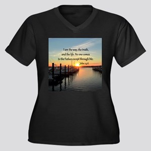 JOHN 14:6 Women's Plus Size V-Neck Dark T-Shirt