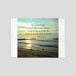 JOHN 15:12 5'x7'Area Rug