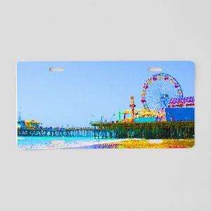 Funky Pixels Pier Aluminum License Plate