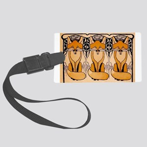 Art nouveau foxes Large Luggage Tag