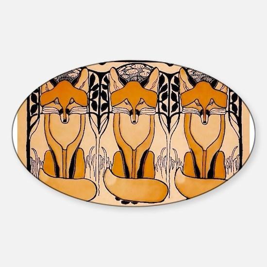 Art nouveau foxes Decal