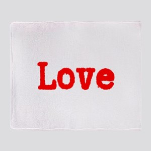 Typewriter Red Font Love Throw Blanket