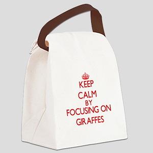 Keep Calm by focusing on Giraffes Canvas Lunch Bag