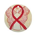Red Ribbon Angel Ornament (Round)