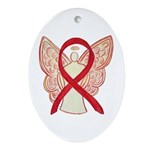 Red Ribbon Angel Ornament (Oval)