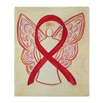 Red Ribbon Angel Throw Blanket