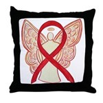 Red Ribbon Angel Throw Pillow