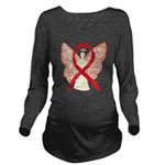 Red Ribbon Angel Long Sleeve Maternity T-Shirt