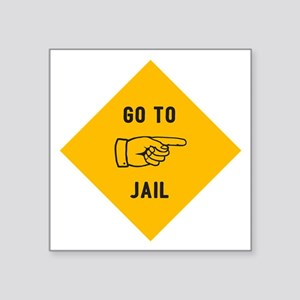 "Go To Jail Square Sticker 3"" x 3"""