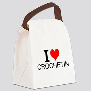I Love Crocheting Canvas Lunch Bag
