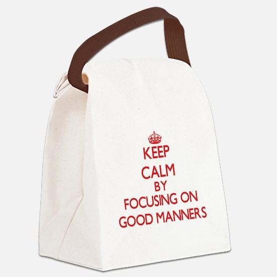 Keep Calm by focusing on Good Man Canvas Lunch Bag