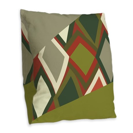 Uzbeck Olive and Tomato Abstra Burlap Throw Pillow