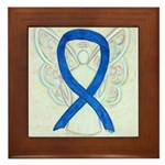 Blue Ribbon Angel Framed Tile