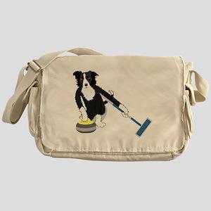 Border Collie Curling Messenger Bag
