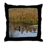 Coot on Pond Throw Pillow